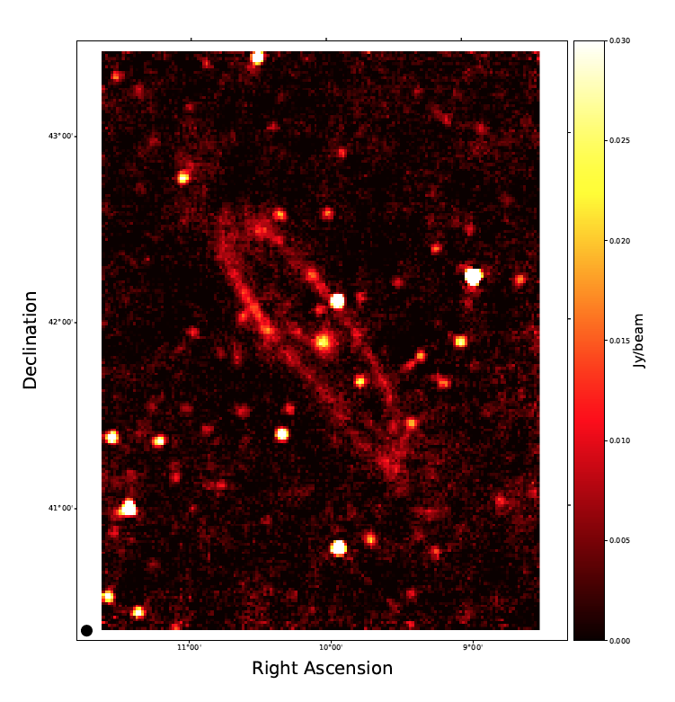 Final image of the Andromeda galaxy after averaging over the whole bandwidth at 6.6 GHz. Credit: S. Fatigoni et al (2021)
